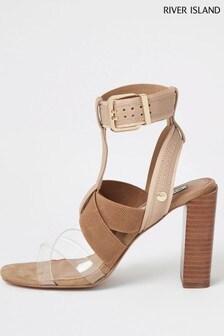 River Island Pink Elastic Block Heel Sandals