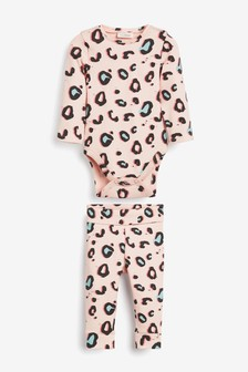 Pink Leopard Print Rib Bodysuit And Leggings Set (0mths-2yrs)
