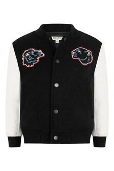 Boys Black Wool Baseball Jacket