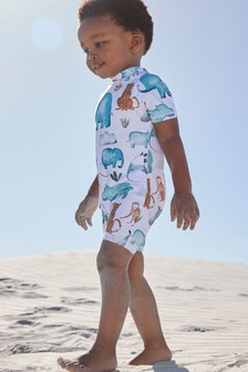 White Zoo Print Sunsafe Swimsuit (3mths-7yrs)