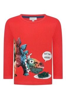 Boys Red Dinosaur Cotton T-Shirt