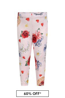 Baby Girls Pink Cotton Floral Leggings