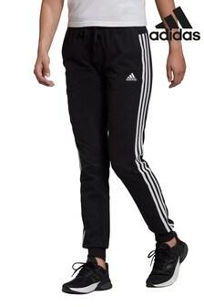 adidas Black 3 Stripe Woven Joggers