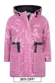 Girls Pink Transparent Raincoat