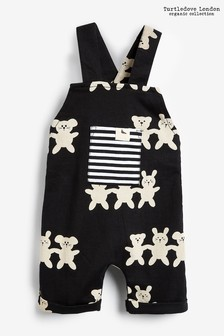 Turtledove London Black Organic Cotton Besties Shortie Dungarees