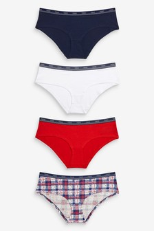 Check Print Short Cotton Rich Logo Knickers Four Pack