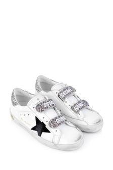 حذاء رياضيجلد أبيضبكاحل براقللأطفالOld School