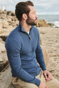 Light Blue Cotton Premium Zip Neck Jumper