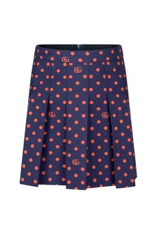 Girls Navy GG Embroidered Skirt