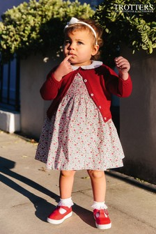 Trotters London Red Catherine Smocked Dress
