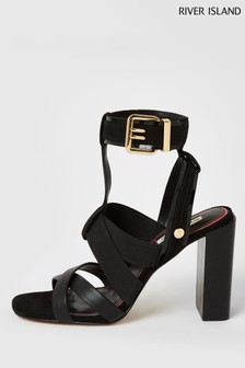 River Island Black Elastic Block Heel Sandals