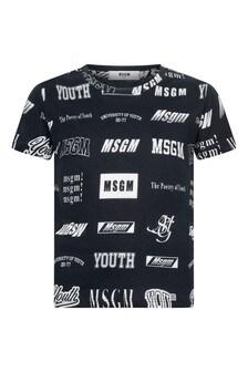 Boys Black Cotton All Over Logo T-Shirt