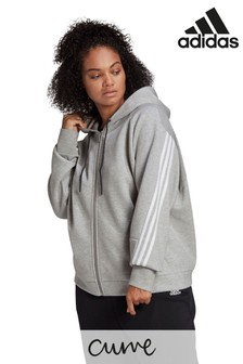 adidas Curve Icons 3 Stripe Grey Zip Through Hoodie