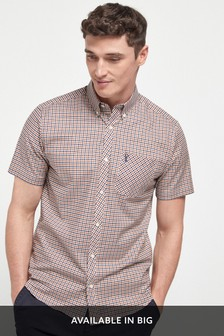 Rust/Navy Regular Fit Slim Fit Short Sleeve Gingham Stretch Oxford Shirt