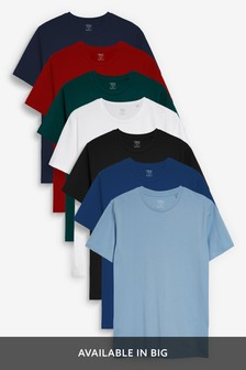 Red Mix Regular Fit Crew Neck T-Shirts Seven Pack