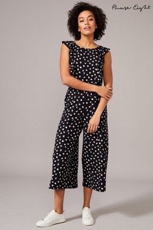 Phase Eight Blue Electra Ditsy Spot Print Jumpsuit