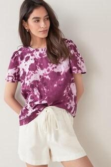 Purple Tie Dye Linen T-Shirt