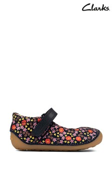 Clarks Navy Floral Tiny Mist T Shoes