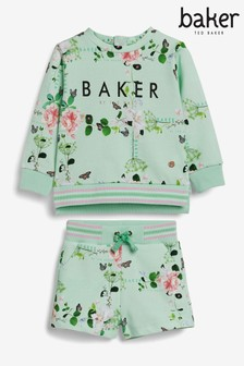 Baker by Ted Baker Green Floral Sweater And Shorts Set