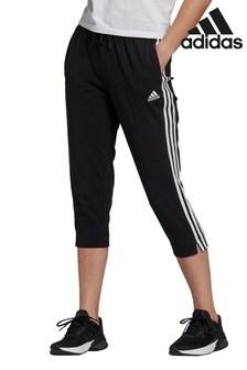 adidas 3 Stripe Black Woven Joggers