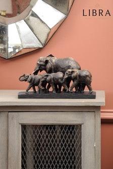 Libra Antique Bronze Parade Of Elephants Sculpture