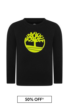 Boys Black Organic Cotton Long Sleeve T-Shirt