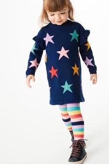 Navy Rainbow Star Jumper Dress & Tights Set (3mths-7yrs)