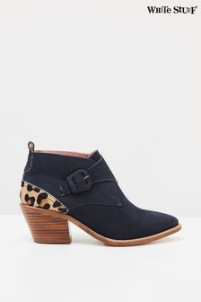 White Stuff Navy Western Monk Ankle Boots