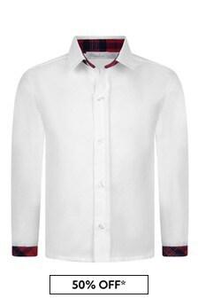 قميص قطن أبيض بتفاصيل مربعات طارطان أحمر أولادي