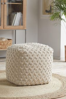Knitted Bobble Cube Pouffe