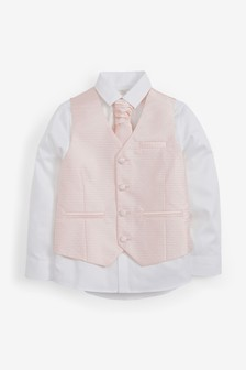 Pink Wedding Waistcoat, Shirt And Tie Set (12mths-16yrs)