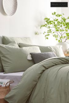 Stonehouse Washed Cotton Linen Duvet Cover and Pillowcase Set by Riva Home