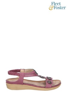 Fleet & Foster Purple Caper Elastic T-Bar Sandals