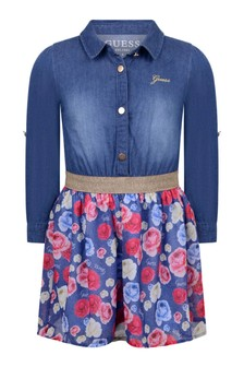 Girls Blue Denim & Chiffon Dress