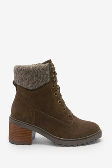 Chocolate Regular/Wide Fit Forever Comfort Knit Top Lace-Up Boots