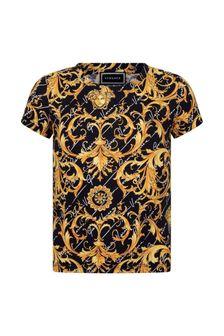Black Boys Black & Gold Baroque Cotton T-Shirt