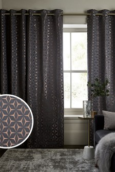 Bronze Geo Star Eyelet Lined Curtains