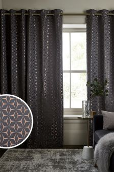 Bronze/Grey Geo Star Eyelet Lined Curtains