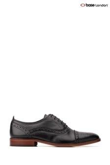 Base London® Black Cast Waxy Lace-Up Brogue Shoes