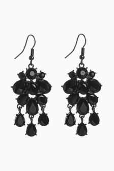 Black Jewel Drop Earrings