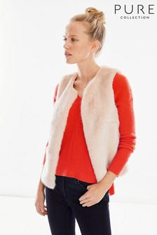 Pure Collection Pink Faux Fur Gilet