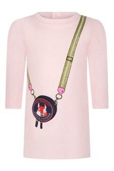 Baby Girls Pink Bag Print Cotton Dress