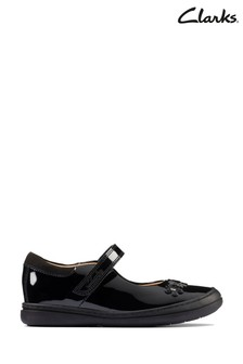 Clarks Black Patent Scooter Jump KIds Shoes