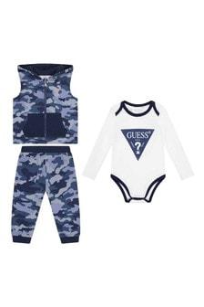 Baby Boys Blue Camo Cotton Trousers 3 Piece Set