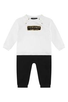 Baby Boys White/Black Cotton Romper