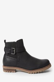Black Forever Comfort Chunky Buckle Chelsea Boots