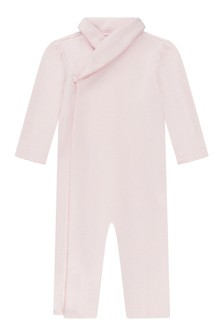 Baby Girls Pink Cotton Shawl Collar Coverall