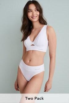 Nude/White Cotton Non Wire Bralettes 2 Pack