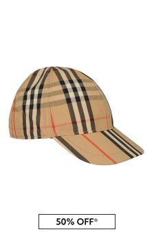 Kids Beige Vintage Check Cotton Cap