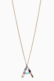 Gold Tone Coloured Stone Initial Necklace